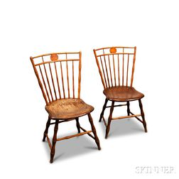 Pair of Bamboo-turned Birdcage Windsor Side Chairs