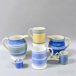 Six Banded Mocha-decorated Ceramic Vessels