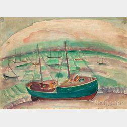 William Zorach (American, 1887-1966)      Vessel in a Harbor
