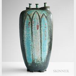 Lyle N. Perkins Monumental Three-neck Pottery Vase