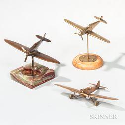 Three Brass Airplane Aviation Models