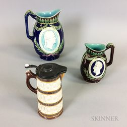 Three Wedgwood Majolica Ceramic Jugs