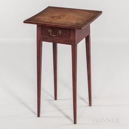 Diminutive Inlaid and Paint-decorated One-drawer Stand