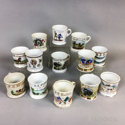 Thirteen Porcelain Shaving Mugs