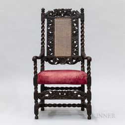 Charles II Carved and Caned Walnut Armchair