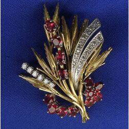 Retro 18kt Gold, Ruby and Diamond Brooch