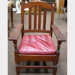 Stickley Bros. Quaint Transitional Oak Armchair.