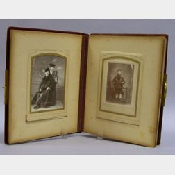 Art Nouveau Gilt-metal Mounted Cloth Photograph Album with Portrait Photographs.