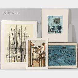 Otto Eglau (German, 1917-1988)      Four Prints: Marine Landscape ,  Torii, Kyoto ,  Im Hafen Sylt