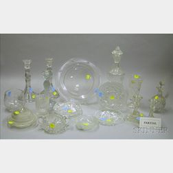 Large Lot of Assorted Colorless Pressed and Cut Glass Tableware and Items.