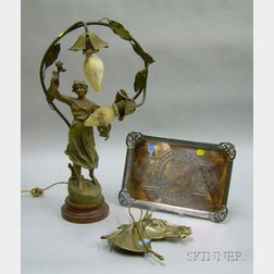 James Tufts Victorian Aesthetic Silver Plated Tray, a Cast Metal Horse/Equestrian Tray, and an Art Nouveau Cast...