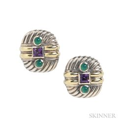 Sterling Silver and 14kt Gold Gem-set Earrings, David Yurman