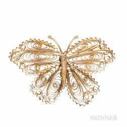 18kt Gold Filigree Butterfly Brooch