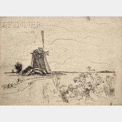 John Henry Twachtman (American, 1853-1902)      Mill in Holland