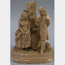 Daniel Chester French Painted Plaster Figural Group Joe's Farewell