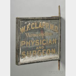 """Painted and Gilded Wood and Iron """"W.F. CLAPP Homeopathic PHYSICIAN AND SURGEON""""   Trade Sign"""