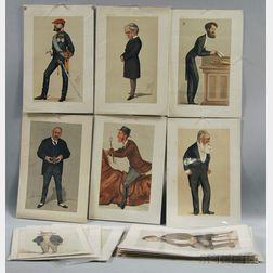 Group of Unframed 19th or 20th Century Color Lithographs for Vanity Fair