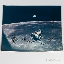 Apollo 11, Eagle's Return to Dock with Columbia, Large-format Photograph Signed by Armstrong, Aldrin, and Collins, July 21, 1969.