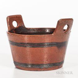 Glazed Redware Bucket-form Vessel