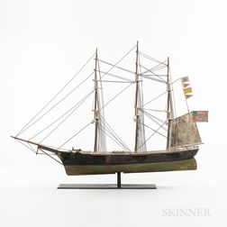 Carved and Painted Clipper Ship Weathervane