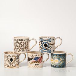 Five Wedgwood Queen's Ware Commemorative Mugs