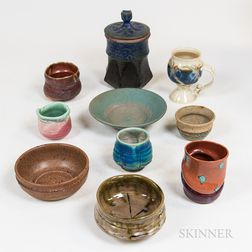 Ten Pieces of American and Japanese Studio Art Pottery