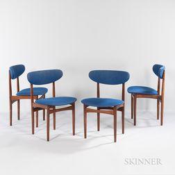 Four Slagelse Mobelvaerk Rosewood Dining Chairs