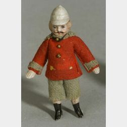 Small Jointed All Bisque Doll with Molded Helmet