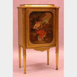 Louis XVI Style Paint-Decorated Giltwood Music Cabinet.