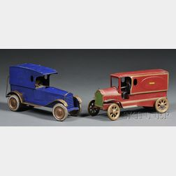 """Pressed Steel """"Police Patrol"""" Toy Automobile and Delivery Van"""