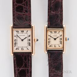 Two Cartier Tank Manual-wind Wristwatches