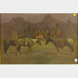 After Wayne Baize (American, b. 1943)      Ponies of the Nez Perce.