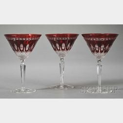 Forty-one Pieces of Ruby Overlay Glass Stemware and Glassware