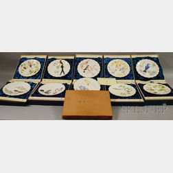 Ten Dorothy Doughty Royal Worcester Bone China Dessert Plates and a Book