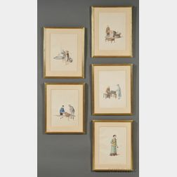 Chinese Export School, 19th Century      Fifteen Framed Paintings Depicting People and Tradesmen of China.