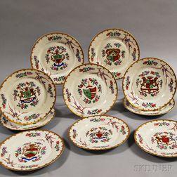 Set of Ten Samson Porcelain Armorial Plates