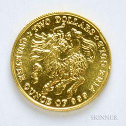 1984 Singapore $2 Quarter Oz. Gold Coin.