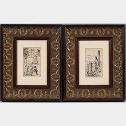 American School, 20th Century    Two Framed Ink Drawings: Stable Scene