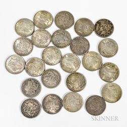 Twenty-four Common Date Morgan and Peace Dollars