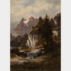 Continental School, 19th Century      Alpine Landscape with Deer by a River