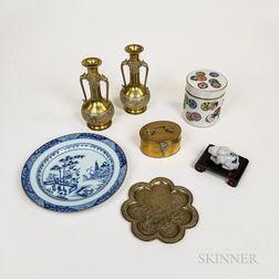 Seven Asian Metal and Ceramic Decorative Items