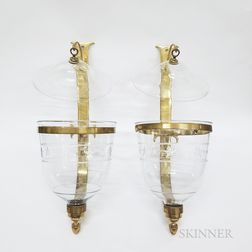Pair of Federal-style Brass and Etched Glass Wall Sconces