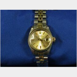 Lady's 14kt Gold and Stainless Steel Wristwatch