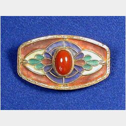 Art Nouveau Carnelian and Plique-a-jour Enamel Pin