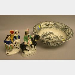 Two Staffordshire Figures and a T. Mayer Black and White Olympic Games Spanish Bullfight Transfer Decorated Staffordshire Bowl.
