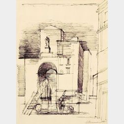 Eugene Berman (Russian/American, 1899-1972)    Architectural Perspective