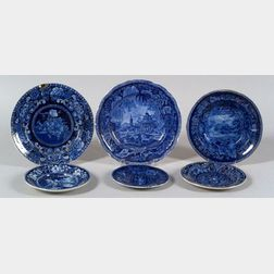 Six Assorted Blue and White Transfer Decorated Staffordshire Plates
