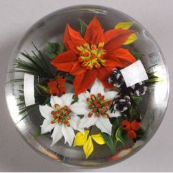 Rick Ayotte Poinsettia and Evergreen Glass Paperweight