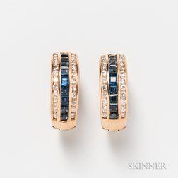 14kt Gold, Diamond, and Sapphire Hoop Earrings