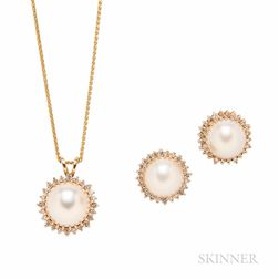 14kt Gold, Mabe Pearl, and Diamond Earrings and Pendant